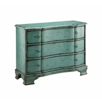 PRODUCT HIGHLIGHTS Gently curved accent chest with three drawers, bracket feet, a heavy crackle hand painted vintage turquoise blue finish. PRODUCT INFORMATION COLLECTION: Jordyn DIMENSION: HEIGHT (IN): 35 DIMENSION: LENGTH (IN): 44 DIMENSION: WIDTH (IN): 17.25 DEPTH/EXTENSION (IN): 0 FINISH: Blue, Hand-Painted, Hand-Painted ITEM SUBSTYLE: Country / Cottage