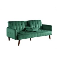 This sofa is a mix between mid-century and a refined retro style with its classic lines, tufted design with wood legs. The symmetrical design and tapered legs give it a vintage spin, while the soft velvetfabric will offer a cozy feel for everyday use.The sofa easily pulls-out to become a bed, providing sleeping space for guests and sleepovers.It is convertible design lets you transform this sofa into abed to accommodate overnight guests. The mid-century look that made straight lines and...
