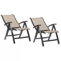 This is a portable chair set that is crafted with an aluminum frame with UV-resistant Sunbrella sling fabric.  This chair features everything you need for a laidback day at the beach or just in your backyard.