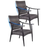 This all-weather wicker patio chair, Made with all-weather materials that resist rust, moisture, and UV fading. Its high-quality aluminum construction, hand-applied, multi-coat finish, durable and long life. In addition, the seat uses grade wicker, quick-dry cushioning, no need additional fabric cushion, easy to clean