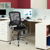 This is our brand new mid-back executive office chair which features sophisticated profile and exquisite workmanship to keep you stable and comfortable all day. The breathable mesh backrest provides ergonomic lumbar support to prevent back strain and muscle fatigue, while ensuring air circulation and improving comfort. The drafting chair allows you to obtain a comfortable seated position by adjusting the seat height and footrest height. Additionally, 360 degree swivel seat helps you better...