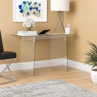 Whether you're getting work done or simply surfing the web, you're sure to be doing it in style at this writing desk. Founded atop two slanted panels for a bold base, its frame is crafted from clear glass with a clean-lined silhouette that works will in contemporary settings. Just pull a rolling chair up for an impromptu office ensemble, or put it to use as a console table in the entryway or den.