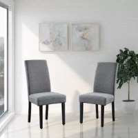 This side chair will add ambiance and style to your dining room. Give your home a pop of chic style with this must-have dining chair. A contemporary twist on elegant design, this eye-catching design will liven up any look. The modern parsons give this chair a touch of familiar charm, while the fabric clean-lined design elevates this chair with a modern flair. Ready to give your dining room a new look? Just by switching out your chairs, you can effortlessly refresh your space.