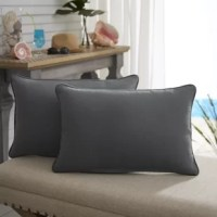 Complete your outdoor ensemble with this weather-resistant lumbar pillow. Crafted from water, stain, and fade—resistant performance poly fabric, it also offers UV protection to prevent fading. It's poly fiberfill makes for comfortable lounging and support when you're hanging on your patio chaise, or even your living room couch. Made in the USA, this pillow is built for all-American summer fun. For thorough cleaning, just spot clean with a mild detergent and line dry. Arrives in a set of two.