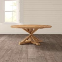 This dining table's rustic pine finish completes the look in your dining room with its well-loved aesthetic. With an hourglass-shaped pedestal base and round tabletop, this table can fit into space-conscience dining areas. The X-shaped footprint with diagonal supports adds a farmhouse theme to your room, while the X-planked tabletop provides added style. Made from solid and engineered wood, it has a distressed finish for rustic appeal. To assemble all you have to do is attach the base.