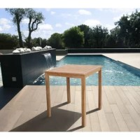 Add stylish and durable table space to your patio with the Buehler teak square bar table. Sturdy teak wood is easy to maintain and will last for summers to come. Assembly is required for the bar table.