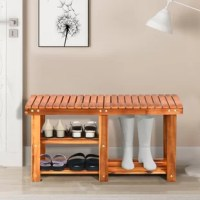 This shoe bench is great to be placed at your entryway as a warm welcome for your guests. It uses Acacia wood and twin-screw connection to ensure having a good support and stability. It combines shoe rack and bench to reduce the unnecessary space occupation, which is friendly for people living in narrow spaces. Two individual shelves provide diversified storage space for your shoes and help restore a neat entryway. With this shoe bench, you can just sit there to put on or take off your shoes...