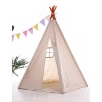 This MODERN KIDS TEEPEE is made of durable 100% cotton canvas. All seams, raw fabric edges and openings are reinforced for safety, durability and years of play. Unique American native Teepee TENT is four walls wooden frame design, the pole is solid timber and it has a smooth finish.