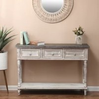 This Truly Special White-Washed Vintage Console Table With A Rustic Design Works To Create A Homely Atmosphere. Its Galvanized Steel Tabletop Has An Enduring Quality. Place At The Entryway, Living Room Or Sunroom For A Cute And Compact Look. You Could It As A Console Table In A Hallway Or Kitchen, Storing Everyday Necessities In Its Three Drawers With Its Antiqued Metal Pull Knob Handles. It Also Includes An Open Storage Shelf For Large Or Bulky Items. The Console Table Stands 31.5 Inches In...