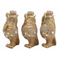 These see hear speak no evil owl figurines are made of polyresin and decorated with crystals, hand painted and polished individually.