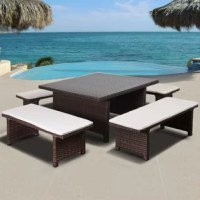 Re-vamp your backyard with this unique and trendy Atlantic Tuten 5 piece low patio dining set. This patio set includes one brown patio table and four low patio benches, with off-white cushions. Assembly is required for the table and benches. Comes with free feron gard wood perservative for longest strap durability. It works great against the effects of air pollution salt air, and mildew growth. For best protection, perform this maintenance every season or as often as desired.