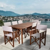 Give your backyard an artsy, modern look with the Amazonia Turgeon 9 piece patio rectangular dining set in khaki color. This patio set includes one rectangular table and eight trendy armchairs. Assembly is required for the table and chairs. Comes with free feron guard wood preservative for longest strap durability. It works great against the effects of air pollution salt air, and mildew growth. For best protection, perform this maintenance every season or as often as desired.