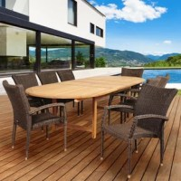 Transform your backyard into an oasis with the Amazonia Trudeau 9 piece teak/wicker double-extendable oval dining set. This modern dining set includes one double-extendable patio table and eight wicker armchairs. Assembly is required only for the table. Comes with free feron gard wood preservative for longest strap durability. It works great against the effects of air pollution salt air, and mildew growth. For best protection, perform this maintenance every season or as often as desired.