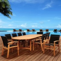 The Amazonia Trevor 11 piece teak double-extendable oval dining set is the trendy way to entertain guests this summer. This modern dining set includes one double-extendable oval table and ten black sling armchairs. Assembly is required for the table and chairs. Comes with free feron guard wood preservative for longest strap durability. It works great against the effects of air pollution salt air, and mildew growth. For best protection, perform this maintenance every season or as often as...