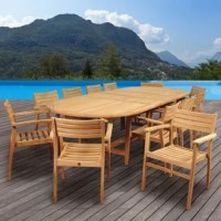 Have the ultimate summer dinner party with the Amazonia Tressler 13 piece teak double-extendable oval dining set. This patio set includes one double-extendable oval table and twelve armchairs. Assembly is required for the table and chairs. Comes with free feron guard wood preservative for longest strap durability. It works great against the effects of air pollution salt air, and mildew growth. For best protection, perform this maintenance every season or as often as desired.