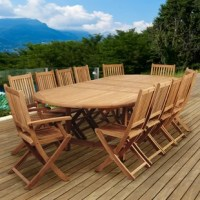 The Amazonia Tregre 13 piece teak double-extendable oval dining set is the ultimate addition to your patio furniture. Perfect for entertaining guests, this patio set includes one double-extendable oval table, two armchairs, and ten side chairs. Assembly is required only for the table. Comes with free feron guard wood preservative for longest strap durability. It works great against the effects of air pollution salt air, and mildew growth. For best protection, perform this maintenance every...