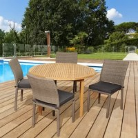 Sit back and relax with this trendy Arwen 5 piece teak/wicker round patio dining set. This modern dining set includes one round patio table and four wicker chairs. Seat cushions are also included for additional comfort. Assembly is required only for the table. Comes with free feron gard wood preservative for longest strap durability. It works great against the effects of air pollution salt air, and mildew growth. For best protection, perform this maintenance every season or as often as desired.