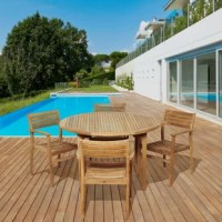Enjoy an intimate summer meal with the Uecker 5 piece teak round patio dining set. This modern dining set includes one round patio table and four armchairs. Assembly is required for the table and chairs. Comes with free feron gard wood perservative for longest strap durability. It works great against the effects of air pollution salt air, and mildew growth. For best protection, perform this maintenance every season or as often as desired.