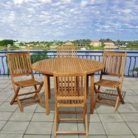 The Milano eucalyptus square 5 piece patio dining set is a classic yet modern dining set, perfect for entertaining guests. This outdoor dining table set includes one square table and eight dining chairs. Eucalyptus wood offers a long-lasting and sturdy outdoor furniture option. Assembly is required for patio table and  patio chairs.