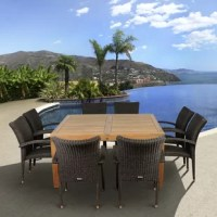 Make your guests feel like they are dining on a tropical island with the Jemima 9 piece teak square patio dining set. This modern dining set includes one square patio table and eight wicker armchairs. Assembly is required only for the table. Comes with free feron guard wood perservative for longest strap durability. It works great against the effects of air pollution salt air, and mildew growth. For best protection, perform this maintenance every season or as often as desired.