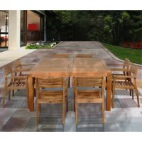 Make your guests feel at home with the comfortable and spacious Wabbaseka 9 piece teak square patio dining set. This modern dining set includes one square patio table and eight stacking armchairs. Assembly is required for the table and chairs. Comes with free feron guard wood preservative for longest strap durability. It works great against the effects of air pollution salt air, and mildew growth. For best protection, perform this maintenance every season or as often as desired.