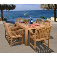 Dine comfortably and in-style with the Aracely 7 piece teak rectangular patio dining set. This modern dining set includes one rectangular patio table and six spacious armchairs. Assembly is required for the table and chairs. Comes with free feron guard wood perservative for longest strap durability. It works great against the effects of air pollution salt air, and mildew growth. For best protection, perform this maintenance every season or as often as desired.