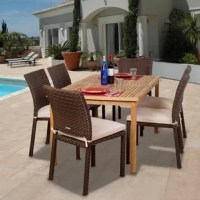 Create your own backyard oasis for you and guests with the Escolta 7 piece teak/wicker rectangular patio dining set. This modern dining set includes one rectangular patio table and six wicker side chairs. Seat cushions are included for additional comfort. Assembly is required only for the table. Comes with free feron guard wood preservative for longest strap durability. It works great against the effects of air pollution salt air, and mildew growth. For best protection, perform this maintenance...