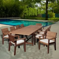 The Turbeville 11 piece eucalyptus extendable rectangular patio dining set is the at-home oasis patio set you've been searching for. This beautiful eucalyptus modern dining set includes one extendable rectangular patio table and ten armchairs. Off-white and beige striped cushions are included for additional comfort and style. Assembly is required for the table and chairs. Comes with free feron guard wood preservative for longest strap durability. It works great against the effects of air...