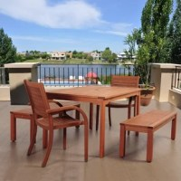 The Amazonia Twedt 5 piece eucalyptus rectangular dining set will give your patio variety and style this summer! This modern dining set includes one rectangular patio table, four armchairs, and two benches. Assembly is required for the table and benches. Comes with free feron gard wood preservative for longest strap durability. It works great against the effects of air pollution salt air, and mildew growth. For best protection, perform this maintenance every season or as often as desired.