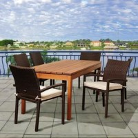 Enjoy a trendy and comfortable summer with the Fargo 7 piece eucalyptus/wicker rectangular patio dining set. This modern dining set includes one rectangular patio dining table, six wicker armchairs, and off-white seat cushions. Assembly is required only for the table. Comes with free wood perservative for longest strap durability. It works great against the effects of air pollution salt air, and mildew growth. For best protection, perform this maintenance every season or as often as desired.