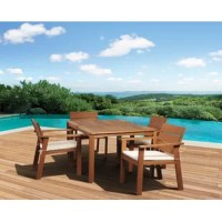 The Trotwood eucalyptus 5 pieces rectangular patio dining set is the perfect dining set for entertaining guests this summer. This patio set includes one rectangular dining table and eight spacious chairs which will create a comfortable and stylish social spot for you and your guests. Sturdy eucalyptus wood will last for seasons to come. Assembly is required for the table and chairs. Comes with free feron gard wood preservative for longest strap durability. It works great against the effects of...