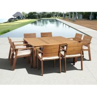The Alpena eucalyptus 9 piece square patio dining set is the perfect dining set for entertaining guests this summer. This large square table and eight spacious chairs will create a comfortable and stylish social spot for you and your guests. Sturdy eucalyptus wood will last for seasons to come. Assembly is required for the table and chairs. Comes with free feron gard wood perservative for longest strap durability. It works great against the effects of air pollution salt air, and mildew growth....