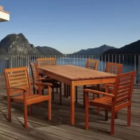 Sit back and relax for a nice meal with friends and family with the Ayana 7 piece eucalyptus rectangular patio dining set! This modern dining set includes one sleek, rectangular patio dining table and six spacious armchairs. Assembly is required for the table and chairs. Comes with free wood preservative for longest strap durability. It works great against the effects of air pollution salt air, and mildew growth. For best protection, perform this maintenance every season or as often as desired.