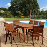 Enjoy a relaxing meal this summer with the Stephany 9 piece eucalyptus rectangular patio dining set. This sturdy, easy to maintain patio set will last for summers to come. Includes one rectangular patio dining table and eight armchairs. Assembly is required only for the table. It comes with free wood preservative for longest strap durability. It works great against the effects of air pollution salt air, and mildew growth. For best protection, perform this maintenance every season or as often as...