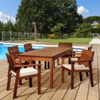 Host a dinner party, or enjoy a relaxing brunch with friends and family with the Turbeville 7 piece eucalyptus rectangular patio set! This modern dining set comes with off-white and beige striped cushions, for extra style and comfort. Includes one rectangular patio dining table, six armchairs, and cushions. Assembly is required for the table and chairs. Comes with free wood perservative for longest strap durability. It works great against the effects of air pollution salt air, and mildew...