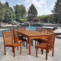 Enjoy a fun meal with seven others with the Nya 9 piece eucalyptus rectangular patio dining set! This set includes one sleek rectangular patio dining table and eight stylish, armless chairs. Assembly is required for the table and chairs. Comes with free wood perservative for longest strap durability. It works great against the effects of air pollution salt air, and mildew growth. For best protection, perform this maintenance every season or as often as desired.