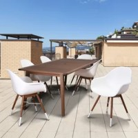 Re-vamp your backyard this summer with the Amazonia Wassim 7 piece rectangular patio dining set. This patio set includes one rectangular table and six trendy white armchairs. Assembly is required for the table and chairs. Comes with free feron gard wood perservative for longest strap durability. It works great against the effects of air pollution salt air, and mildew growth. For best protection, perform this maintenance every season or as often as desired.