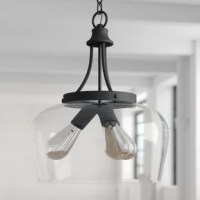 Sleek and streamlined, this Hickerson 3-Light Unique/Statement Teardrop Pendant brings a dash of modern style as it shines a light down on your space. Crafted from metal, this fixture features curved arms in a versatile solid finish for understated appeal. A clear glass dome shade rounds out the design for an open and airy look, letting light from compatible 100 W medium-base bulbs (not included) pass through in an ambient direction.