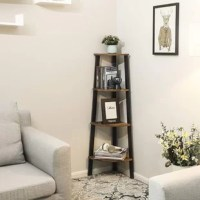 A practical shelf can freshen up your room in every respect. This 4-tier corner shelf is elaborately crafted which is friendly to the compact space such as kitchen, study, living room, bedroom and so on. It is durable and stable because of the premium chipboard and metal material. Four open shelves can satisfied your large storage requirements. This corner shelf is just an ideal solution to compact space. Because of Its unique shape, it can be placed in any narrow place without taking up too...