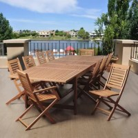 The Tuthill 11 piece eucalyptus extendable rectangular patio dining set is a large outdoor dining set, perfect for entertaining guests. This outdoor seating option includes one extendable rectangular table, two armchairs, and eight chairs. Assembly is required only for the table. Comes with free feron guard wood preservative for longest strap durability. It works great against the effects of air pollution salt air, and mildew growth. For best protection, perform this maintenance every season or...