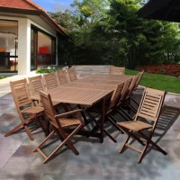 The Tuthill 13 piece eucalyptus extendable rectangular patio dining set is a large outdoor dining set, perfect for entertaining guests. This outdoor seating option includes one extendable rectangular table, two armchairs, and ten chairs. Assembly is required only for the table. Comes with free feron guard wood preservative for longest strap durability. It works great against the effects of air pollution salt air, and mildew growth. For best protection, perform this maintenance every season or...