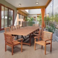 The Kennedy 9 piece eucalyptus extendable rectangular patio dining set is a sturdy outdoor dining set that will last for summers to come. This modern dining set includes one extendable rectangular patio table and eight armchairs. Assembly is required for the table and chairs. Comes with free feron guard wood preservative for longest strap durability. It works great against the effects of air pollution salt air, and mildew growth. For best protection, perform this maintenance every season or as...