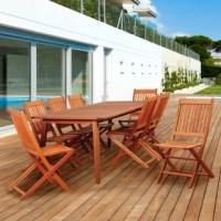 The Amazonia Tynan 9 piece eucalyptus rectangular dining set is the perfect way to dine outdoors this summer! This modern patio set includes one rectangular patio table and eight slatted sidechairs. Off-white seat cushions are also included for additional comfort. Assembly is required only for the table. Comes with free feron gard wood perservative for longest strap durability. It works great against the effects of air pollution salt air, and mildew growth. For best protection, perform this...