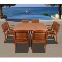 The Triche 9 piece eucalyptus square patio dining set offers a spacious and stylish outdoor dining experience for you and seven guests! Perfect for entertaining, this large patio set will create an oasis feel right in your backyard. This modern dining set includes one square table and eight stacking armchairs. Assembly is required only for the table. Comes with free feron guard wood preservative for longest strap durability. It works great against the effects of air pollution salt air, and...