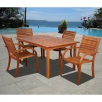 The Trombley 5 piece eucalyptus rectangular patio dining set is a modern dining set perfect for intimate gatherings. Enjoy a relaxing meal with three loved ones at this comfortable and spacious outdoor patio set. This dining table and chairs set includes one rectangular dining table and four stacking armchairs. Assembly is required only for the table. Comes with free feron guard wood preservative for longest strap durability. It works great against the effects of air pollution salt air, and...