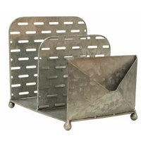 The organizer with envelope pouch is a galvanized metal file organizer with two large sections and a smaller, envelope-like pocket on the front. The organizer has a cutout, olive bucket-style design with lightly distressed edges for a modern, industrial feel. Easily organize folders and files or books and magazines in the larger sections, and tuck away notes or business cards in the front pouch. Item measures 10.25