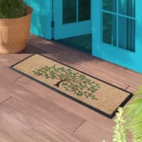Keeps your floor clean when you decorate your entryway with this contemporary door mat, which includes a sturdy rubber backing to help keep the rug in place and prevent slips. The attractive design of this rubber door mat creates a welcoming entrance for your guests, and the durable coir material holds up to lots of foot traffic. Recommended for outdoor use in covered areas. Vacuum or Shake the mat regularly for longer life.