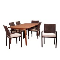 Complete your backyard oasis with the Amazonia Tyner 7 piece eucalyptus rectangular dining set. Perfect for entertaining guests, this modern dining set includes one rectangular patio table and six armchairs. Off-white seat cushions are also included for additional comfort. Assembly is required only for the table. Comes with free feron guard wood preservative for longest strap durability. It works great against the effects of air pollution salt air, and mildew growth. For best protection...