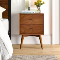 Always on their side, nightstands are every bed's best friend. For fans of mid-century modern style, this nightstand is your best friend too! Built from manufactured wood with mahogany wood veneers, this piece sports a clean, sharp-angled silhouette with iconic splayed legs below. For storage, it features two drawers set on ball-bearing glides. it's sure to be a space-efficient addition to any bedroom.