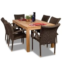 Create your own backyard oasis with the Escondido 7 piece teak/wicker rectangular patio dining set! This modern dining set includes one rectangular patio table and six wicker armchairs. Assembly is required only for the table. Comes with free feron guard wood preservative for longest strap durability. It works great against the effects of air pollution salt air, and mildew growth. For best protection, perform this maintenance every season or as often as desired.